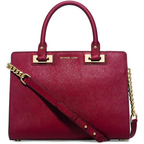 c94e8ebdd02f MICHAEL Michael Kors Quinn Medium Saffiano Satchel Bag ($328) ❤ liked on  Polyvore featuring bags, handbags, cherry, michael michael kors, satchel  purse, ...