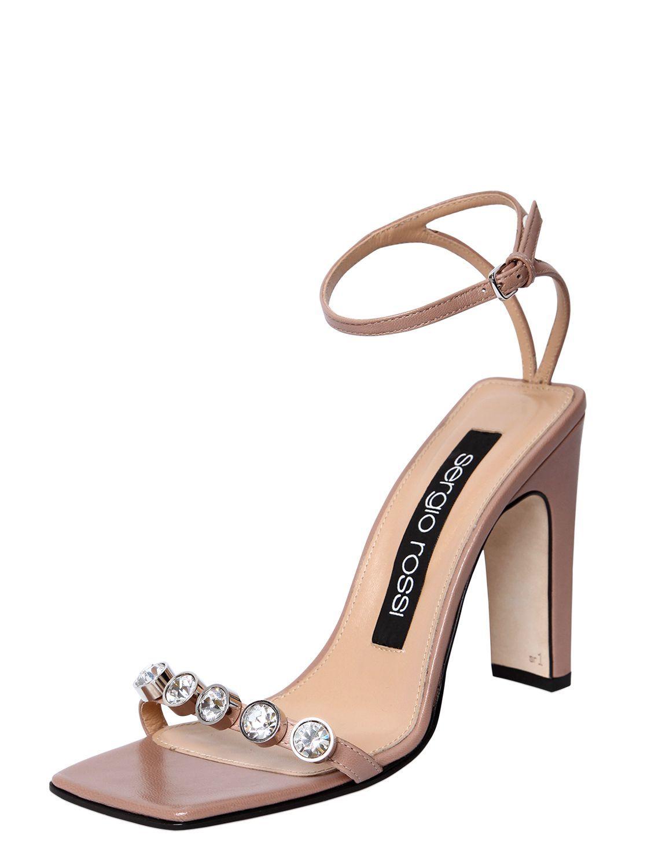 Womens Crystal-Embellished Leather Sandals Sergio Rossi Ufve9