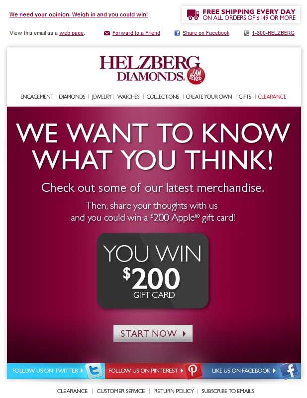 Survey email from Helzberg Diamonds Emails I like \ Email - email survey template