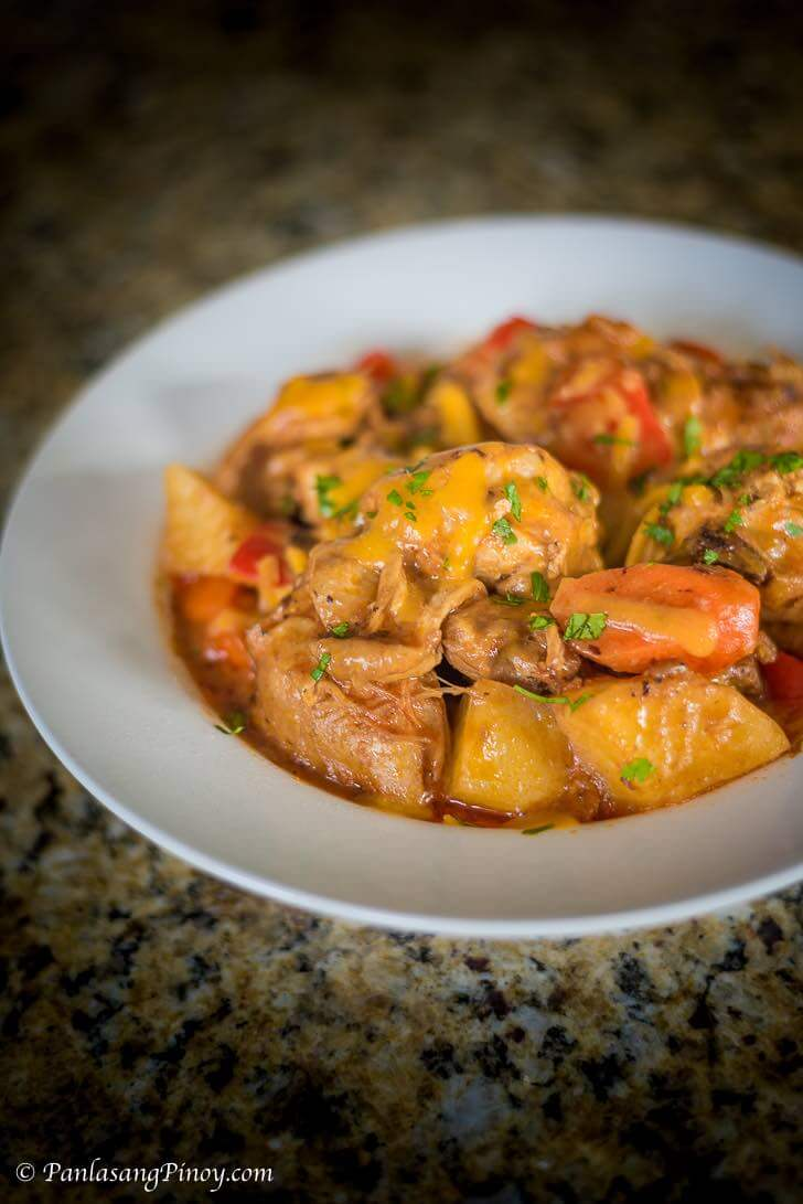 Cheesy Chicken Afritada Recipe Panlasang Pinoy Recipe Chicken Afritada Recipe Cheesy Chicken Chicken Recipes
