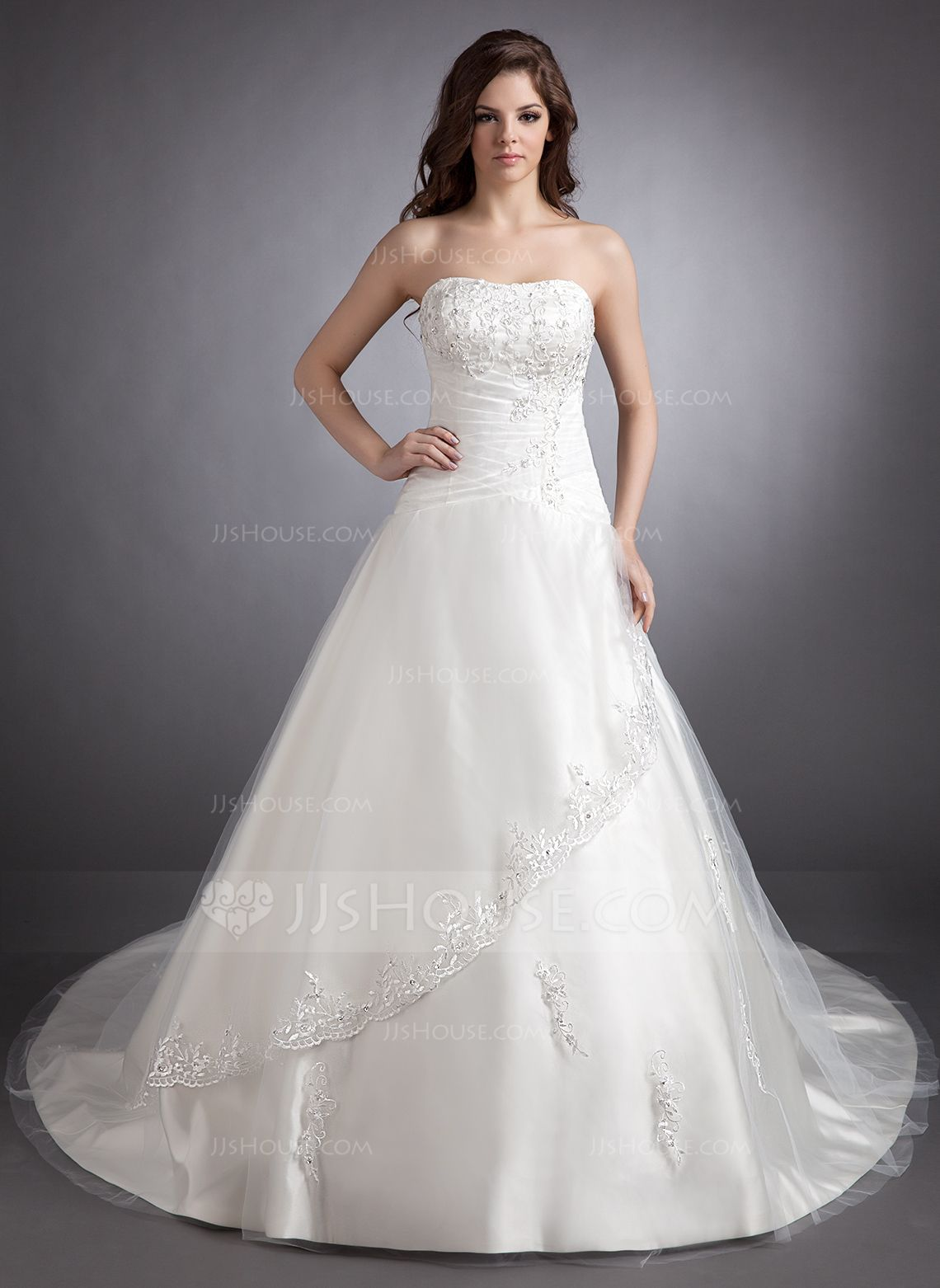 Us 227 00 Ball Gown Sweetheart Chapel Train Satin Wedding Dress With Lace Beading Jj S House Wedding Dresses Bridal Dresses Tulle Wedding Dress