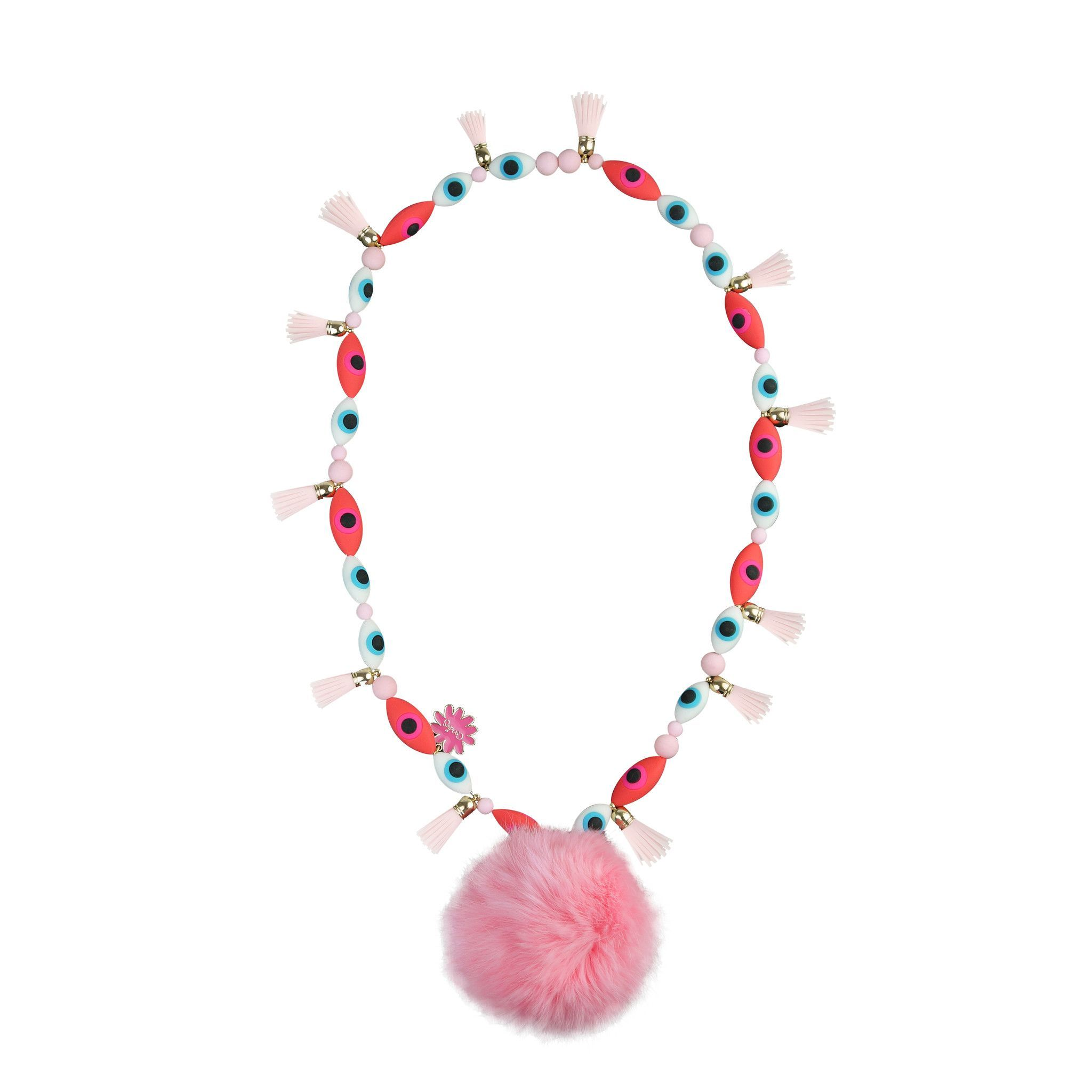Pink Fur Ball Necklace
