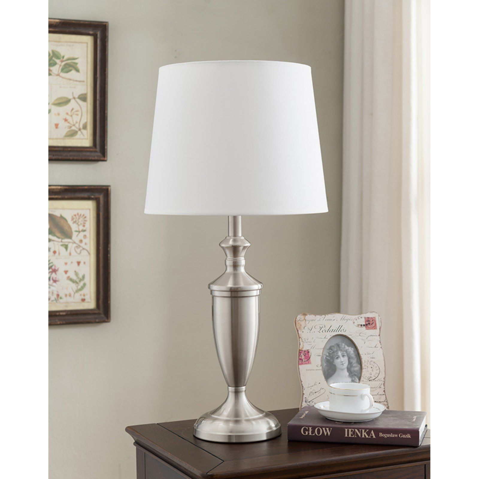 K&B Furniture L228 Brushed Nickel and White Table Lamp