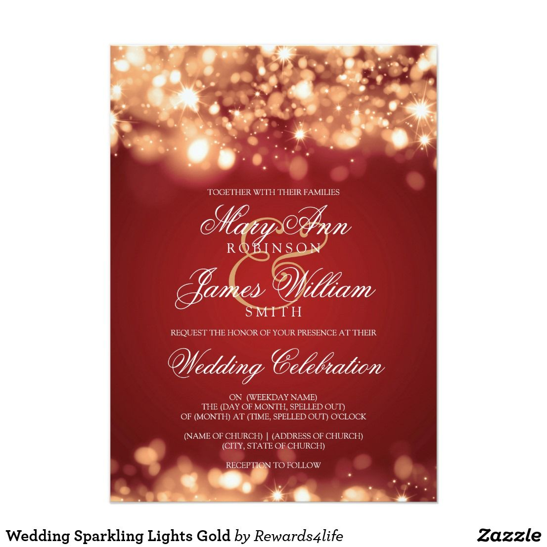 Wedding Sparkling Lights Gold Invitation | Pinterest | Elegant ...