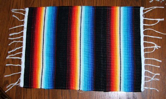 Placemats 13 5x18 Colorful Lightweight Serape Reversible Rainbow Stripes Black Fiesta Party Fiestas And Ea