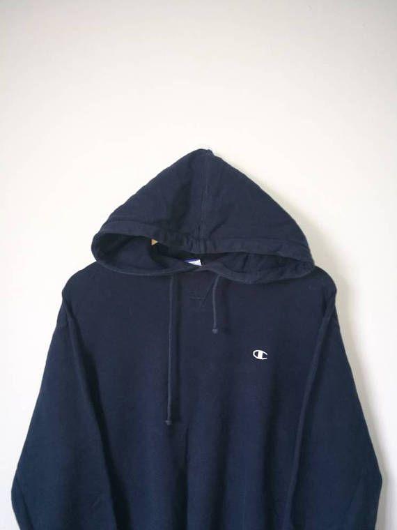 6f49779208130 CHAMPION Small Logo Hoodie Hip Hop Hoodie Dark Blue Colour Size ...