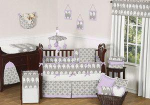 Gray White Purple Elephant Unisex Baby Boy Girl Crib Bedding Set