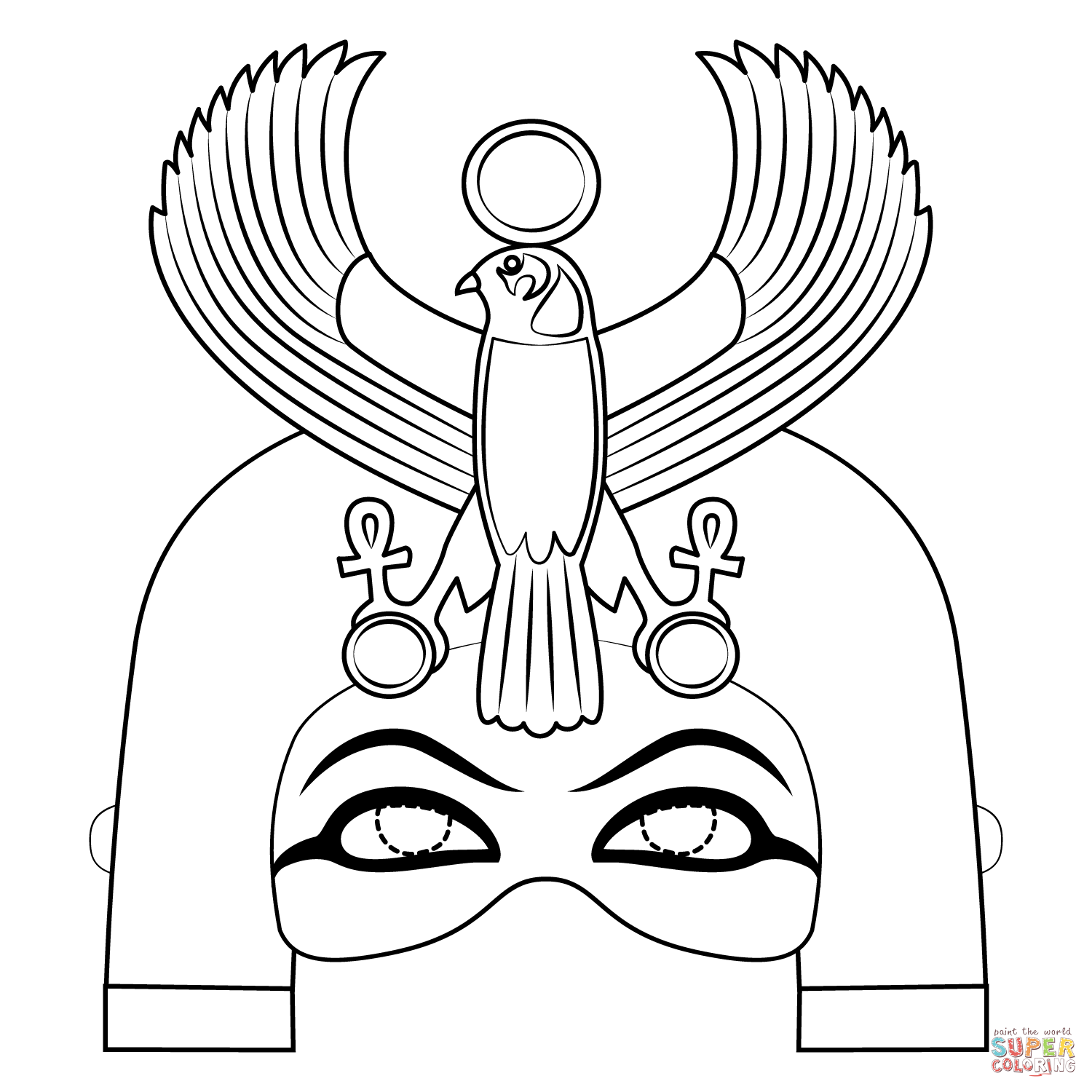 Egyptian Mask With Horus Falcon Coloring Page Free Printable Coloring Pages Egyptian Mask Egyptian Crafts Coloring Pages