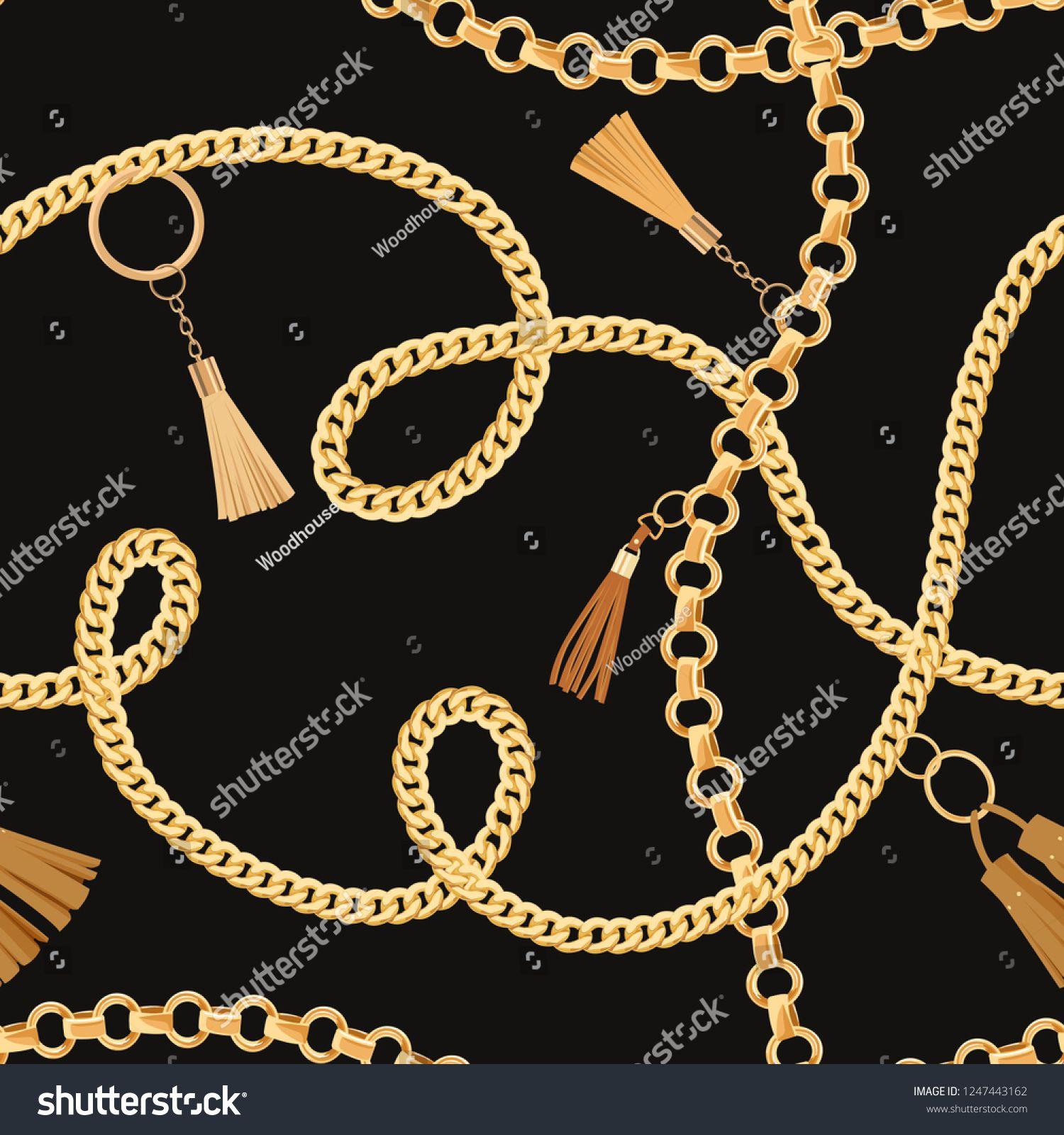 Fashion Seamless Pattern With Golden Chains Fabric Design Background With Chain Metallic Accessories And Jewel Map Design Background Design Metal Accessories