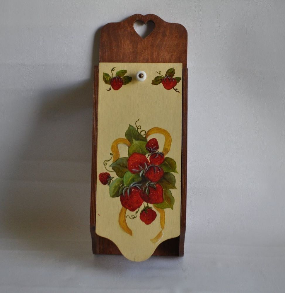 Vintage Recipe Card Holder Wall Mount Kitchen Decor Strawberry Wood ...