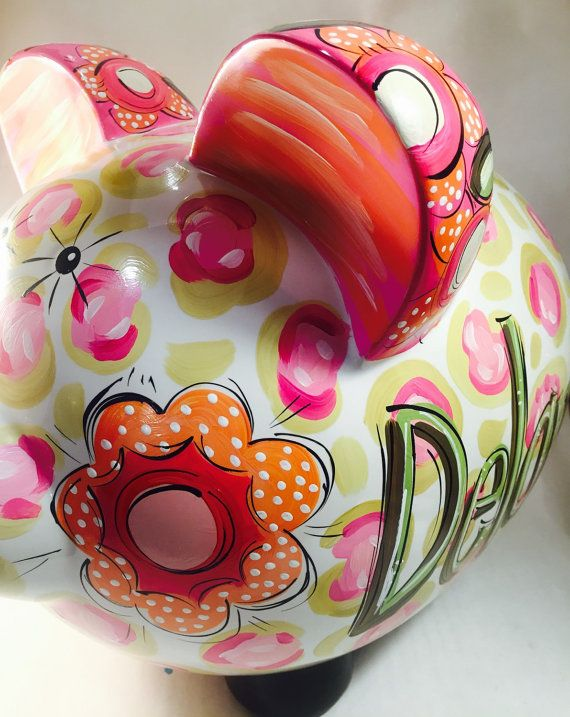 Hucha para niñas cerámica alcancía personalizadas por DAKRIsinclair