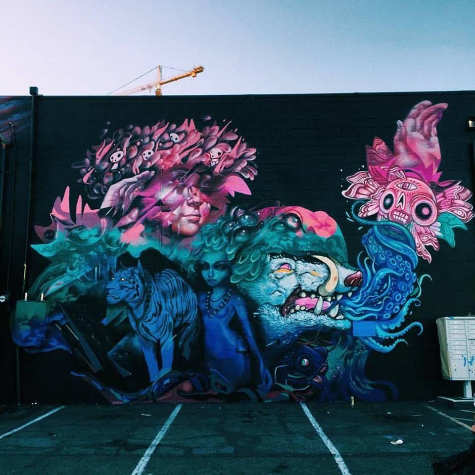 Collab between Lauren YS x Woes Martin x Tati suarez x Boy Kong x Hueman - Honolulu - Hawaii - 2016 #PowWowHawaii #StreetArt #Mural