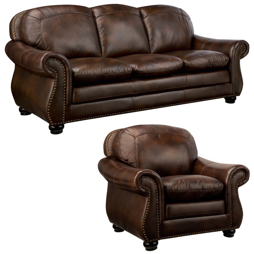 Best Monterrey Premium Brown Top Grain Leather Sofa And Leather 400 x 300