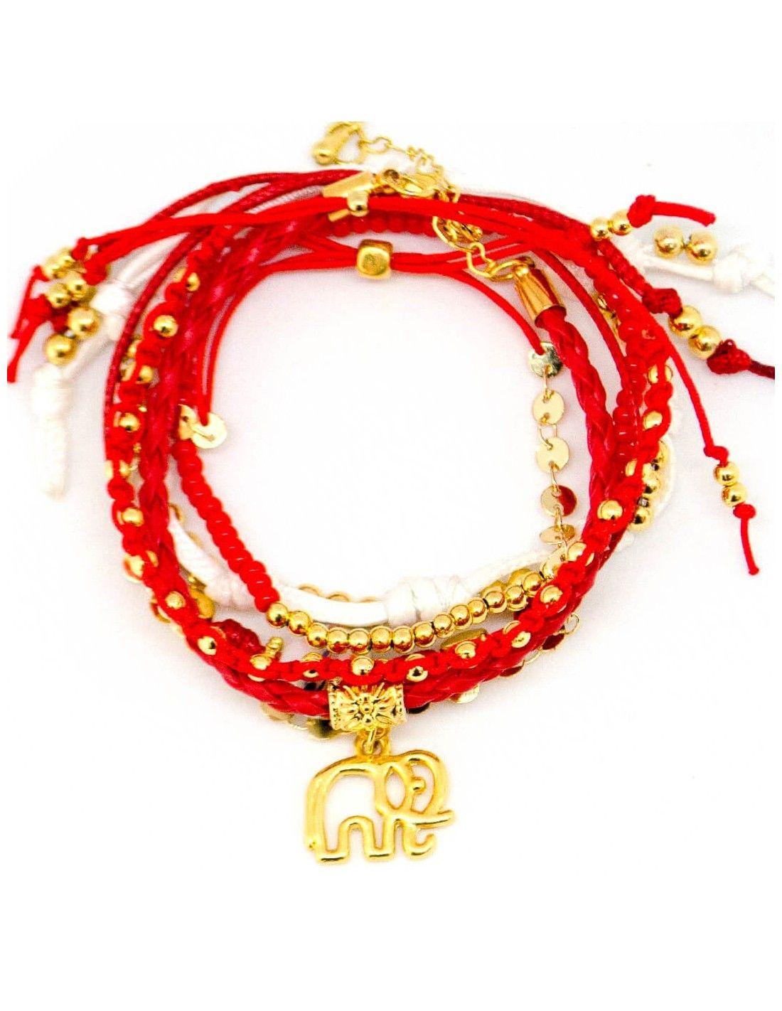 a6dba75d0715 Pulsera Elefante Cuero Rojo Balines | pulseras con mensaje | Cuero ...