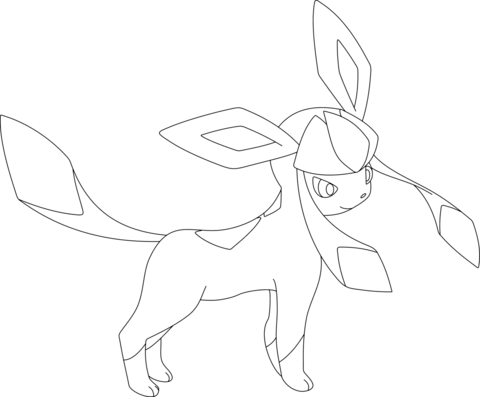 Glaceon coloring page from Generation IV Pokemon category