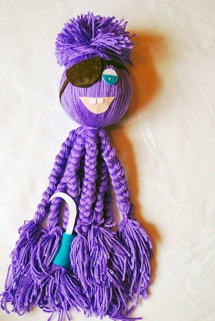 Yarn Octopus Yarn Crafts For Kids Yarn Dolls Octopus Crafts