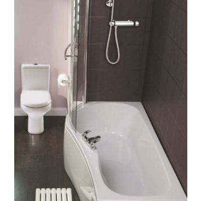 Compact Bath compact left handed 1700 x 700mm shower bath, screen & front panel
