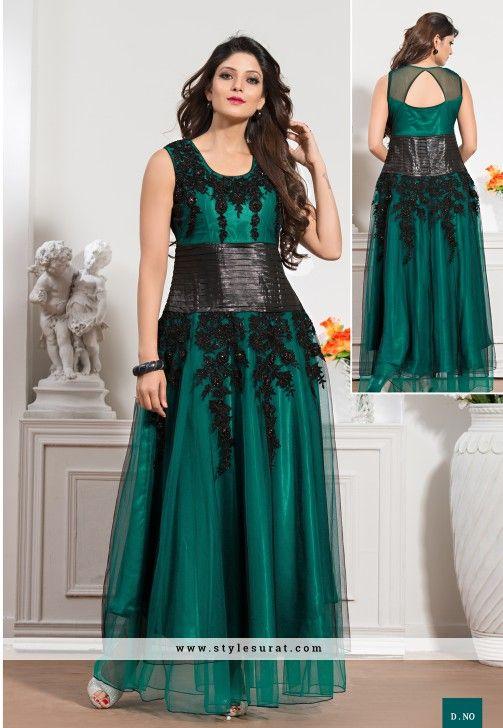 8fa2c2572e70 Teal Green   Black Net Designer Readymade Gown-6008