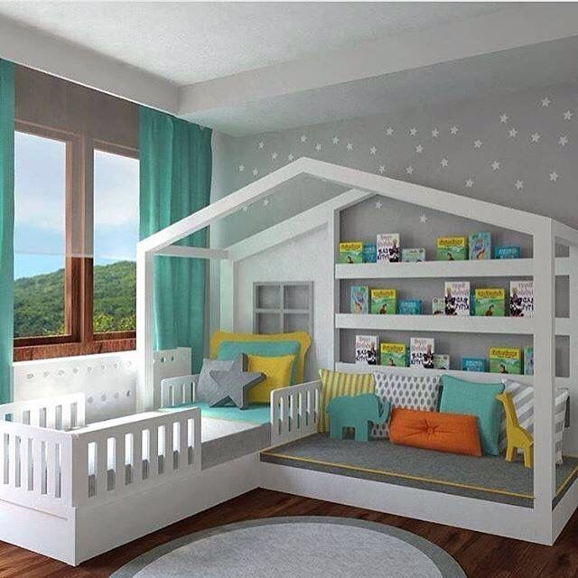 Cool Kids Bedroom Set Up Toddler House Bed Toddler Rooms