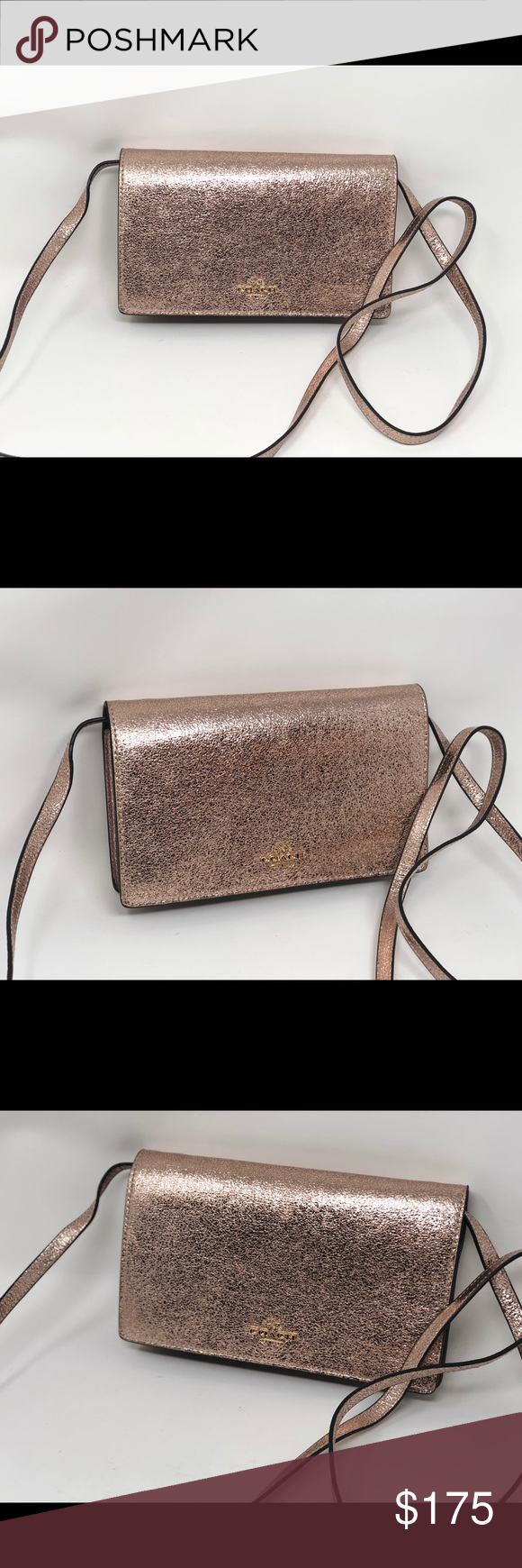 d638e48c246e New Coach F39066 Hayden Foldover Crossbody Clutch New Coach F39066 Hayden  Foldover Crossbody Clutch In Crinkle Metallic Leather Color Rose Gold  Crinkle ...