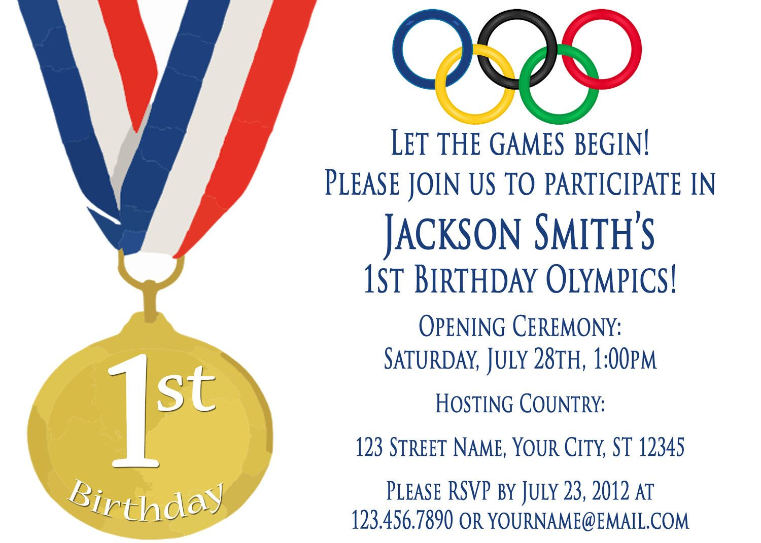 Olympics Party Invitation  Olympic theme party, Party invite