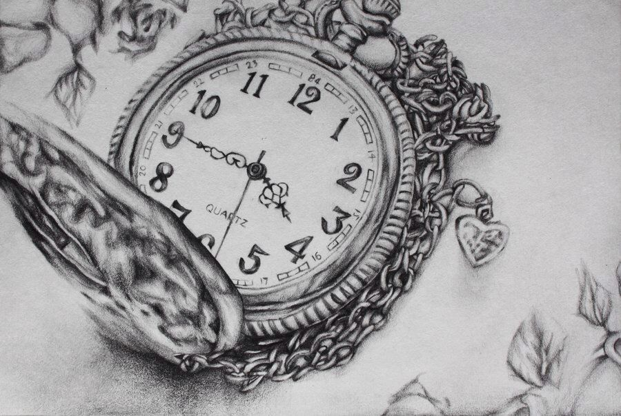 Старинные часы картинки карандашом