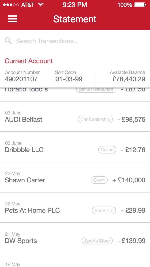 Transactions App Design Ipad Mobile Banking Finance App