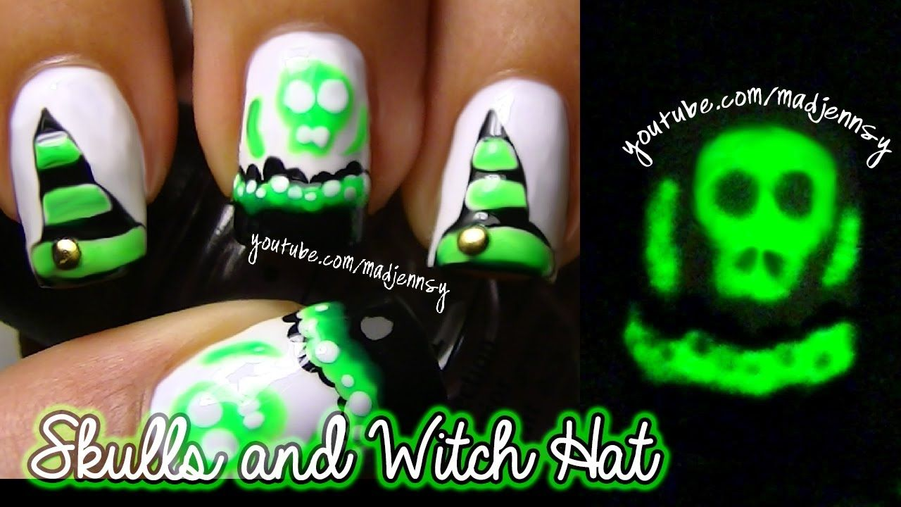 Poisonous Skulls And Witch Hat Nail Art Glow In The Dark Mani