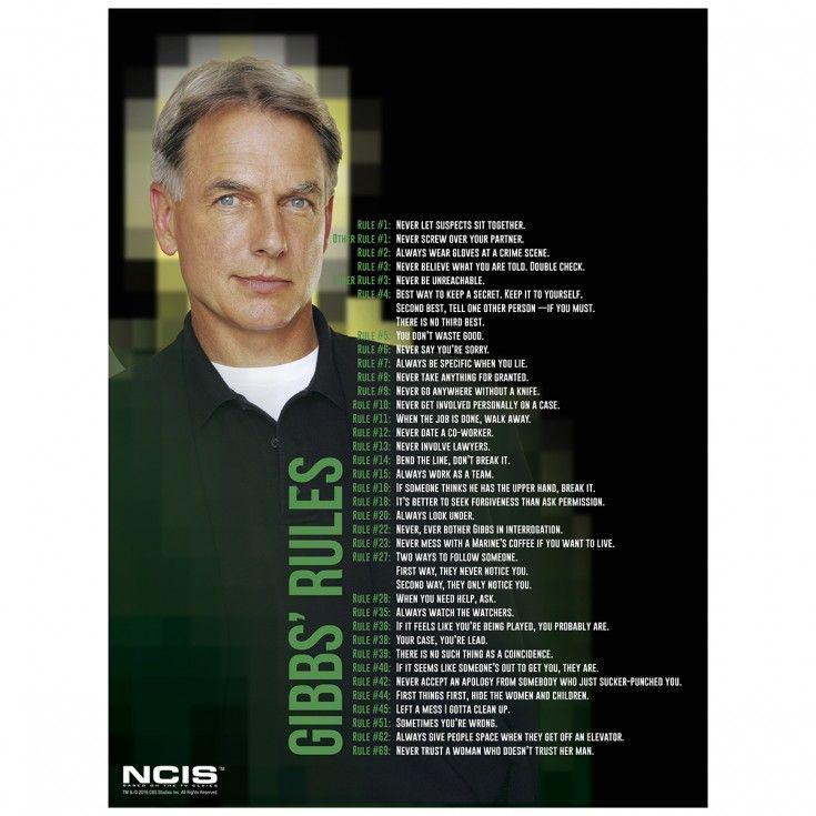 Amazing image with ncis gibbs rules printable list