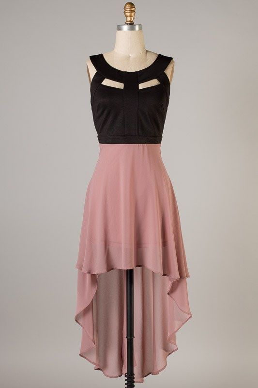 Black Mocha Strapless Hi-Low Dress   GALAAAA