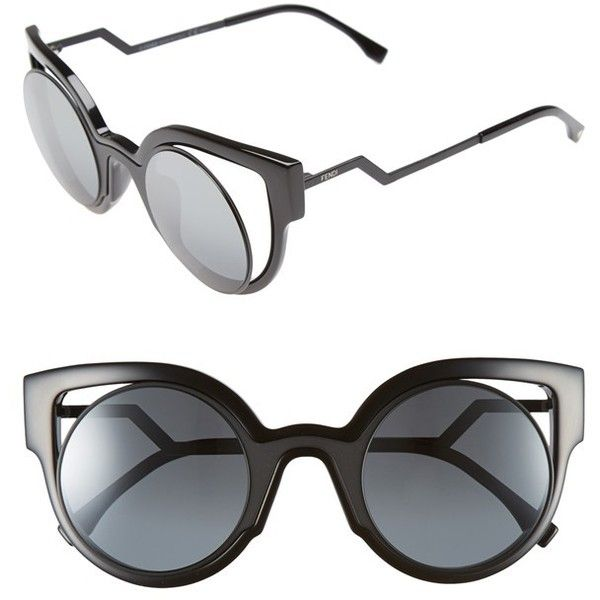 Fendi 'Orchidea' 49mm Cat Eye Sunglasses (4 475 SEK) ❤ liked on Polyvore featuring accessories, eyewear, sunglasses, glasses, fendi, matte shiny black, black cateye sunglasses, vintage cat eye glasses, vintage sunglasses and matte black sunglasses