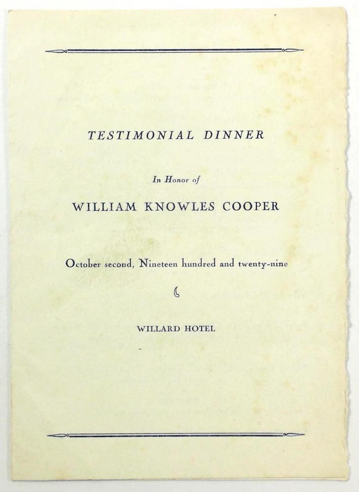 Ymca Testimonial Dinner Menu William Knowles Cooper Willard