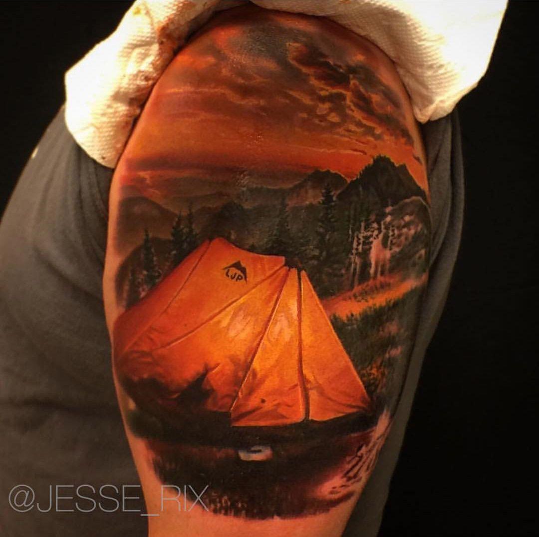 60 Camping Tattoos For Men – Wilderness Design Ideas pics