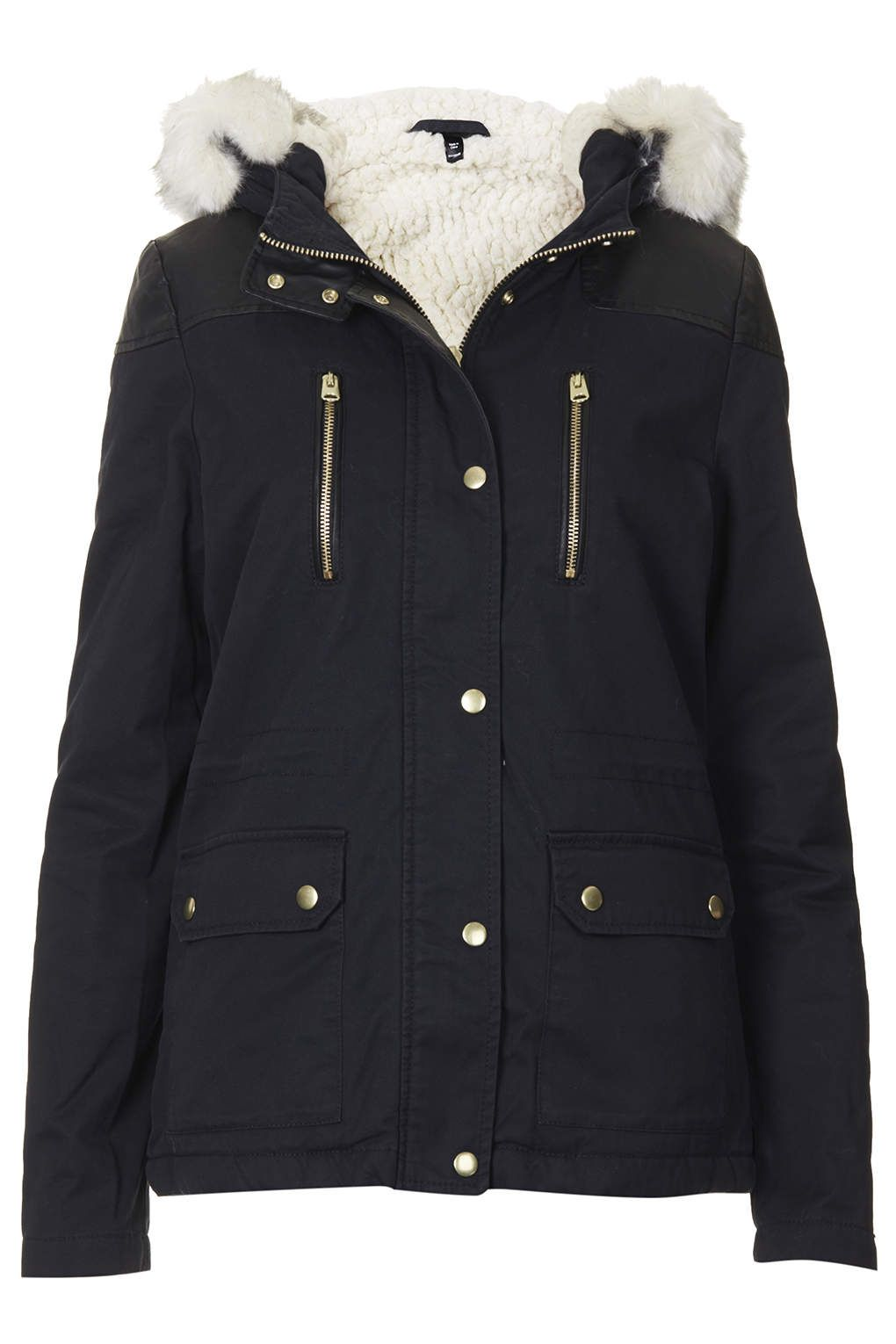 PETITE Faux Fur Trim Borg Lined Short Parka Jacket - Parka Coats ...