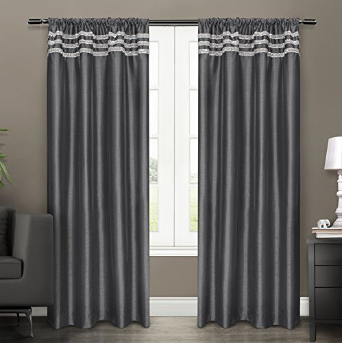 Exclusive Home Bling Rod Pocket Window Curtain Panels Black Pearl Sold As Set Of 2 Pair Panels 2 54 34 X96 34 Http Curtains Panel Curtains Striped Room