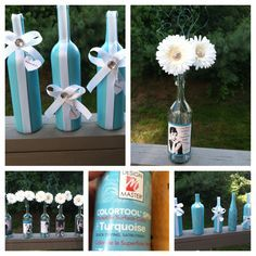 DIY Breakfast at Tiffany's shower/party center pieces and decor using upcycled wine bottles and simple craft supplies