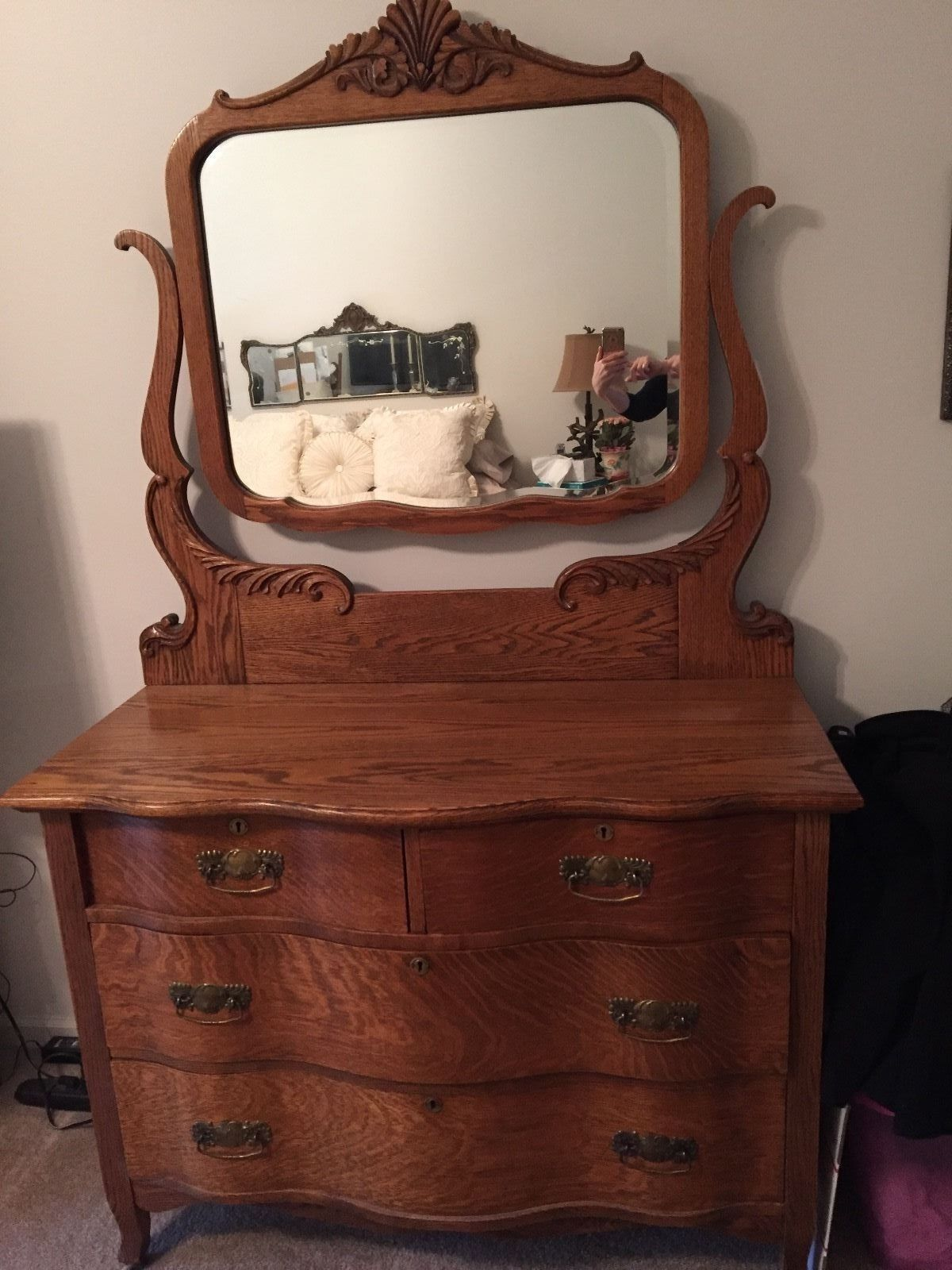 Details About Tiger Oak Dresser Serpentine Front W Beveled