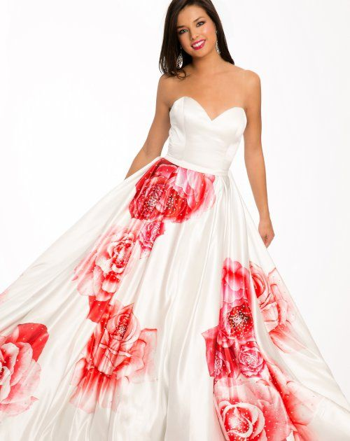 Beautiful strapless white prom ball gown 2015 by Jovani with big red ...