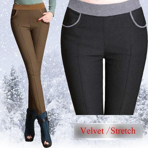 feba478e5f6 winter women warm pants Plus size 4XL thick fleece ladies pencil pants  Black Khaiki elastic waist