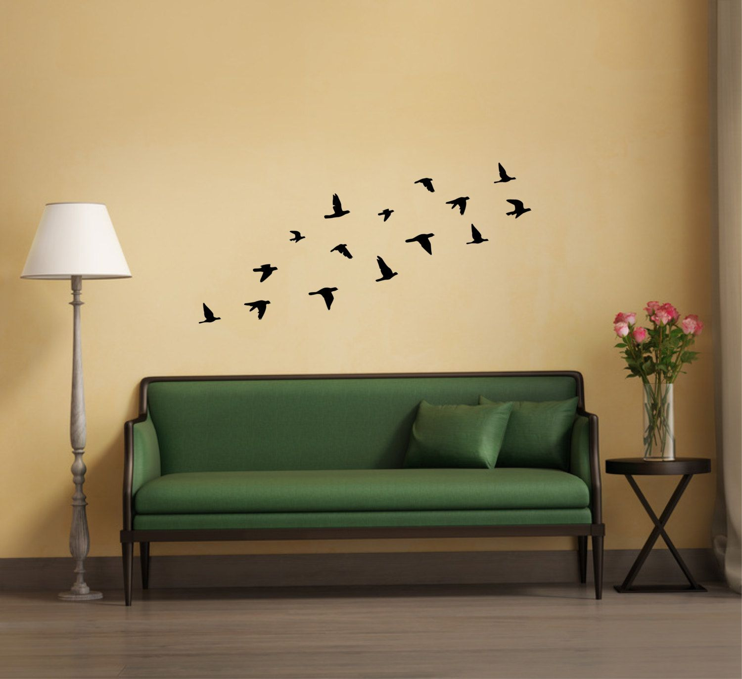 Bird wall decor flying birds wall sticker silhouette flock of birds ...