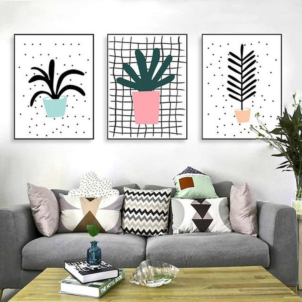 40 Inspiring Canvas Wall Art Decor Make Living Room Look Amazing Di 2020 Desain Interior Interior Desain