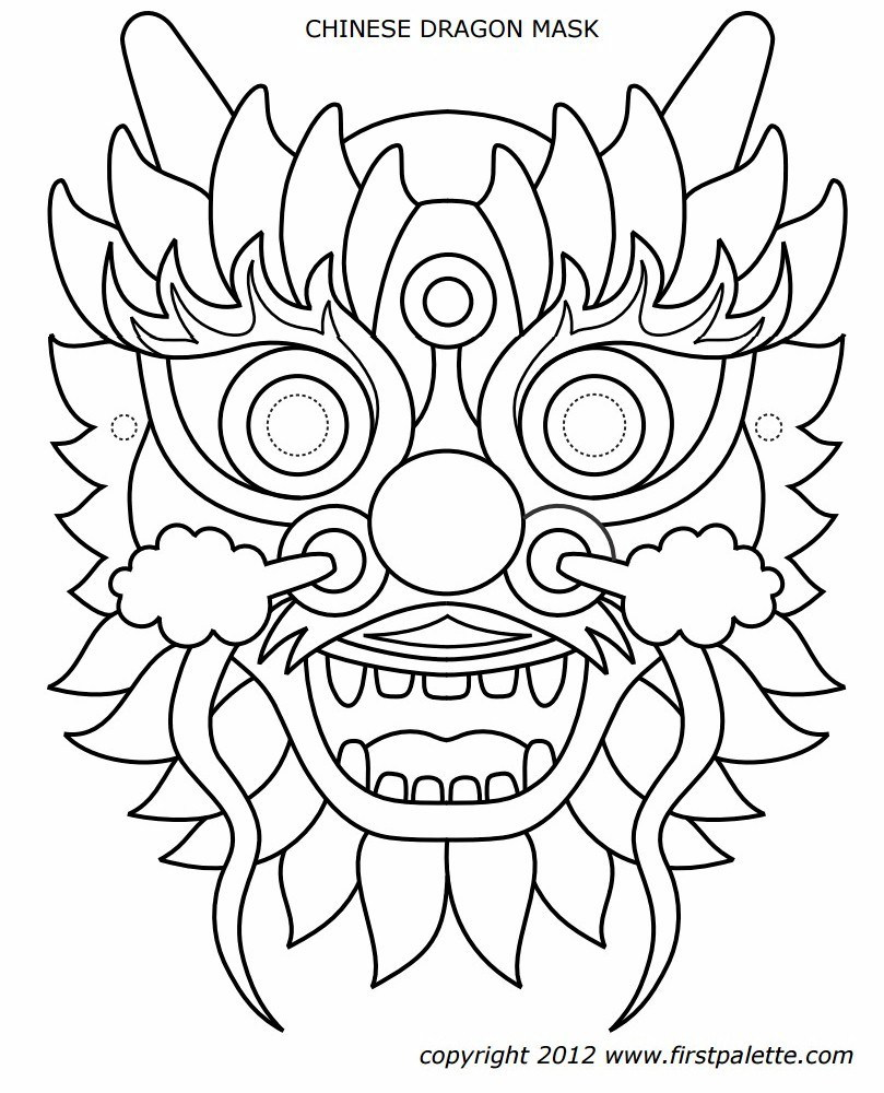 Dragon Mask Chinese New Year Dragon Dragon Coloring Page Dragon Face