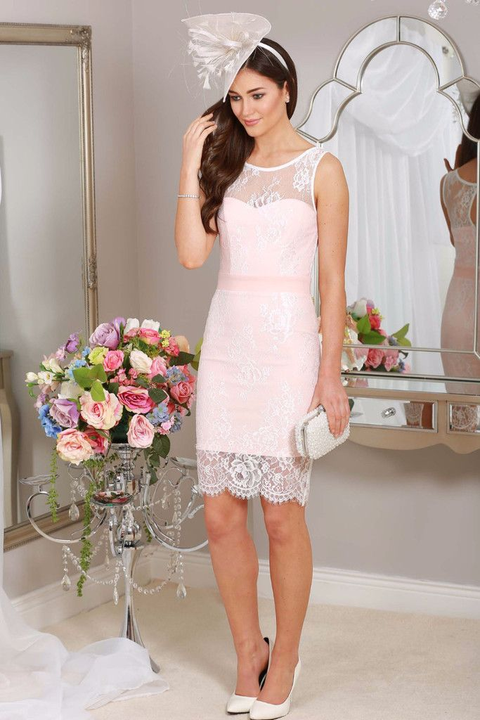 Pink Lace Wedding Guest Dress : Baby pink lace overlay bodycon dress occasion wear