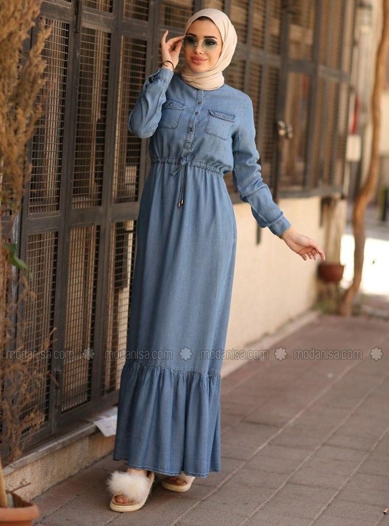 Blue - Unlined - Cotton - Denim - Dress | Muslim fashion ...