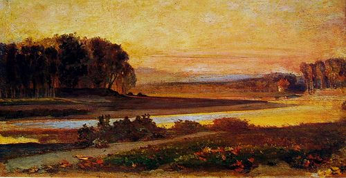 "Sunset on the Arno (Private Collection) ""Macchiaioli"" Painters GIOVANNI COSTA detto Nino (Roma, 1826 – Marina di Pisa, 31 gennaio 1903) #TuscanyAgriturismoGiratola"