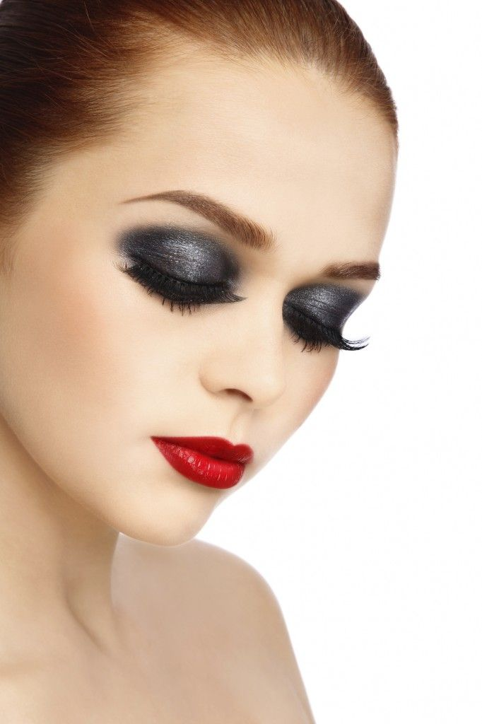 Makeup Smoky Black Gray Eyeshadow With Glossy Red Lips Red Lip
