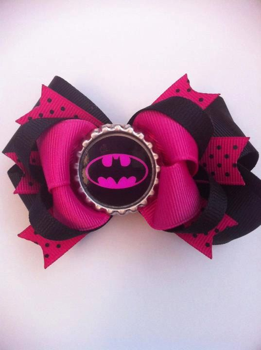 Batman Girl Bottle Cap Hair Bow Get Inspired Diy And Save Get Your Bottle Cap Craft Supplies At Www Fizzypops Com Baby Hair Bows Cap Hair Hair Bows