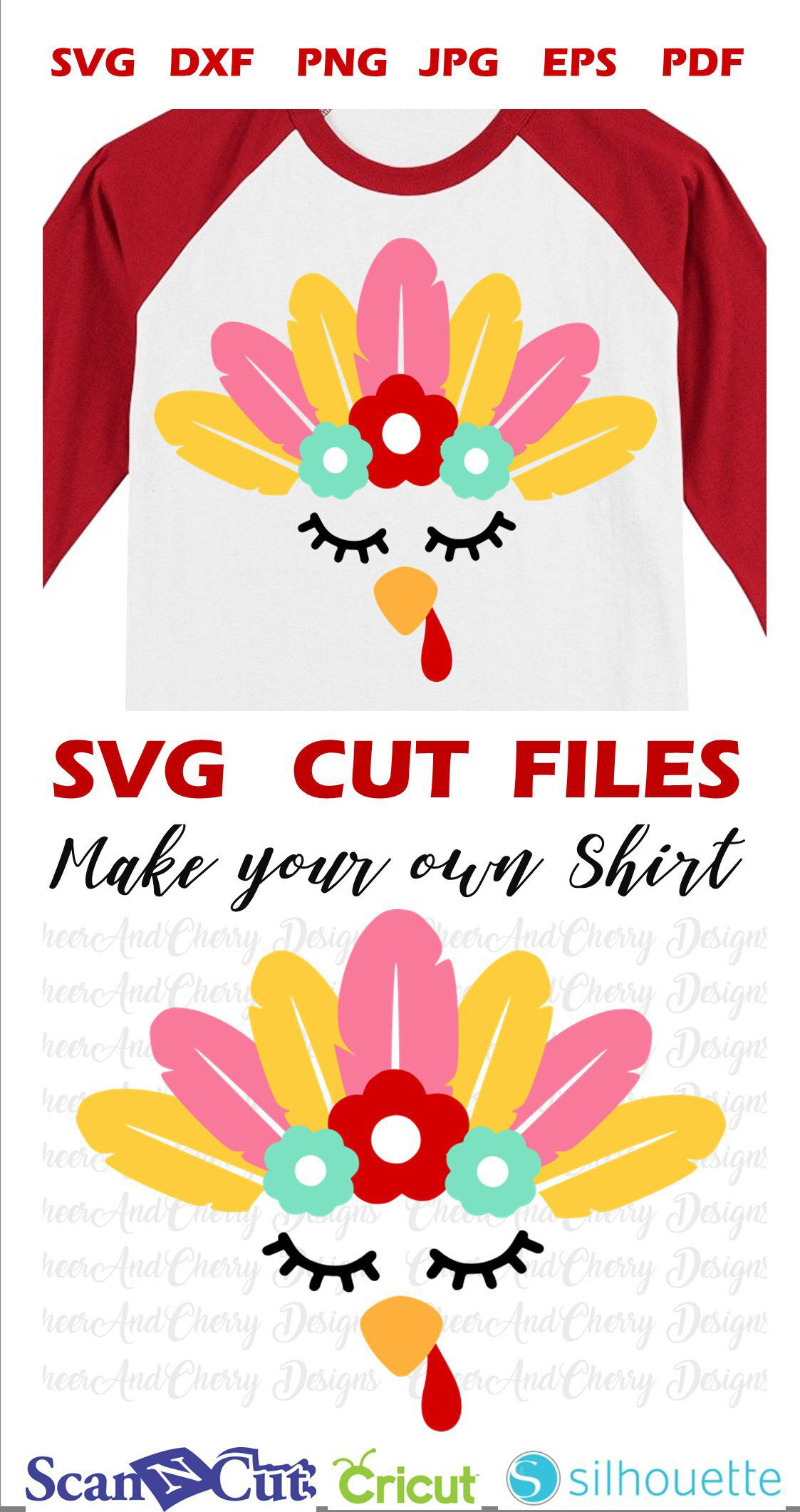 Girl turkey face SVG for Thanksgiving SVG DXF, turkey Svg