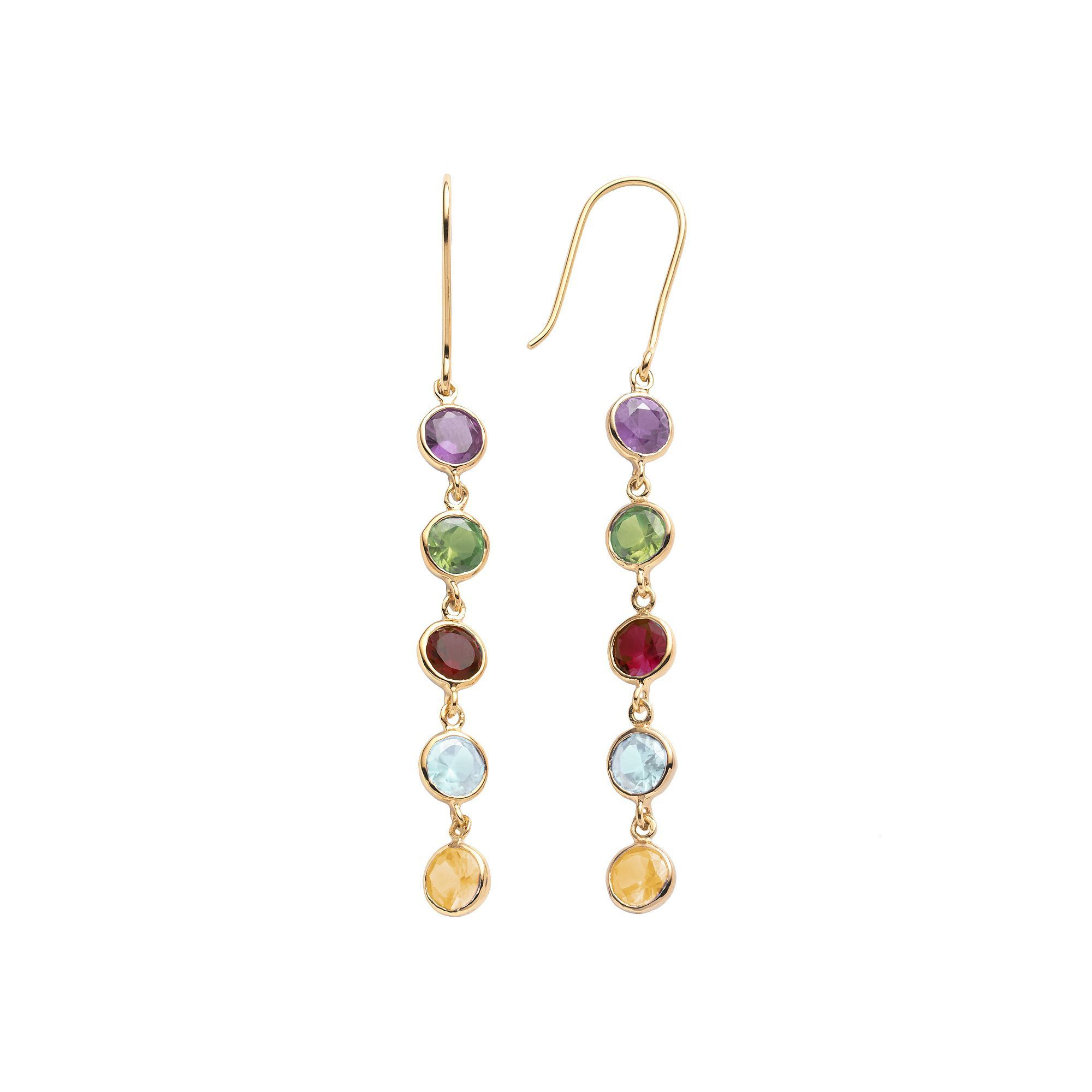 fantasy earrings multicolor gold flower gemstone products overlay