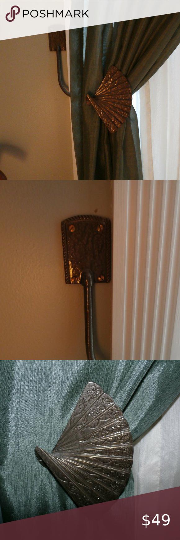 Vintage Brass Fan Curtain Tie Backs  Oriental Brass Fans